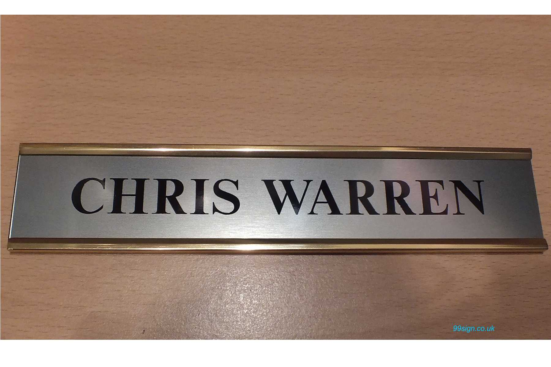 Door nameplate made to order brushed stainless steel for Door name signs