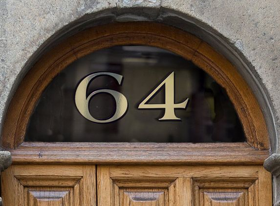 Fanlight door numbers gold house numbers traditional for Window number