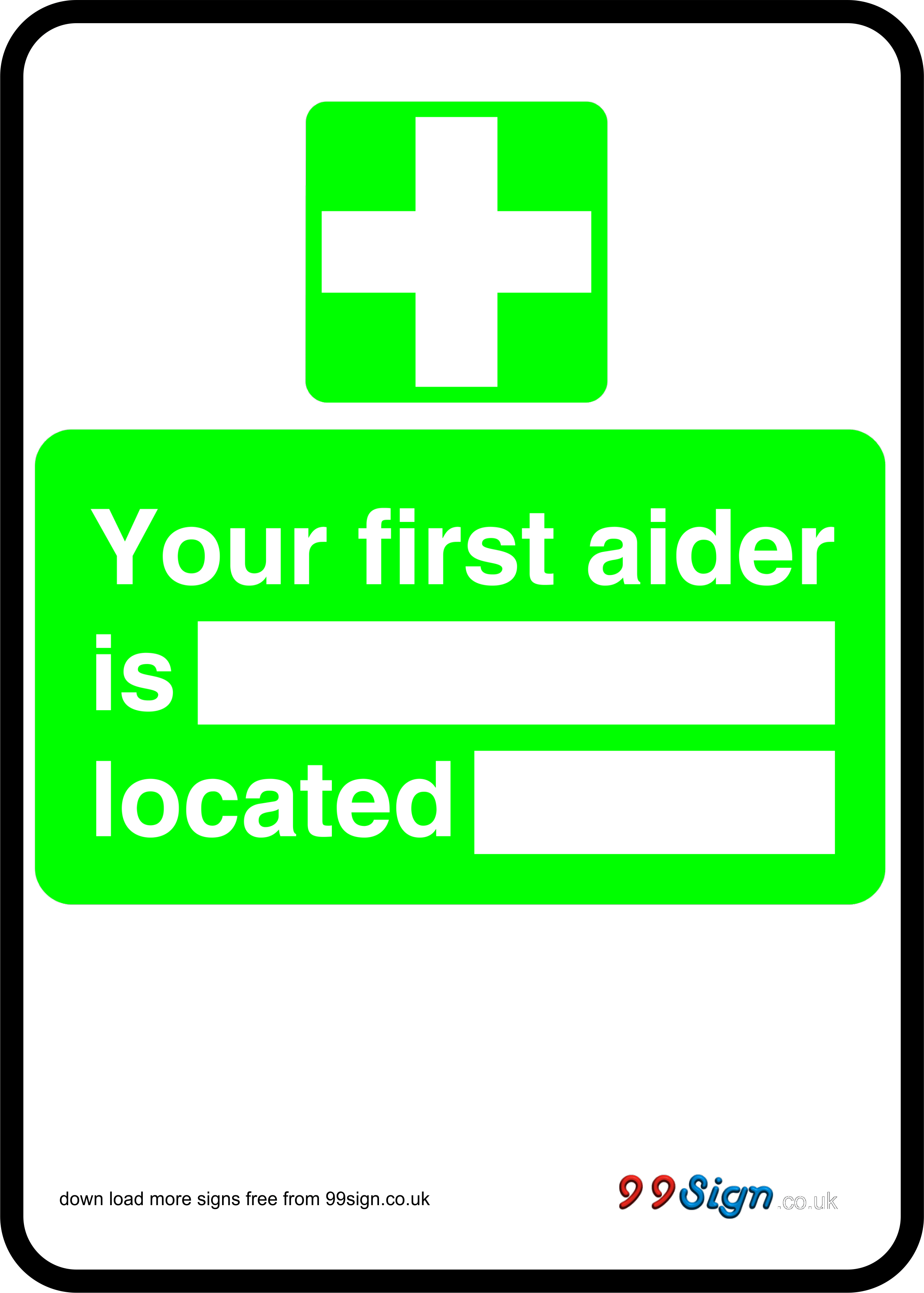 Free prinable First aid sign your first aider is located free – First Aid Certificate Template