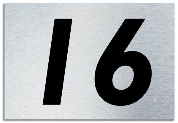 Number 16 contemporary house plaque brusher aluminium for Number 16 house