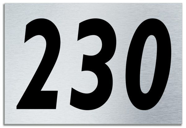 Number 230 Contemporary House Plaque Brusher Aluminium