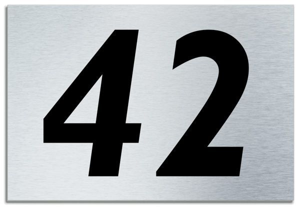 Number 42 contemporary house plaque brusher aluminium for Modern house 42