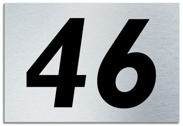Number 46 contemporary house plaque brusher aluminium for Modern house 46