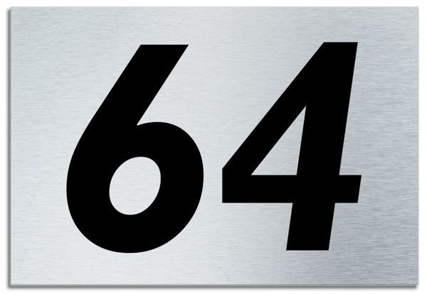 Number 64 Contemporary House Plaque Brusher Aluminium