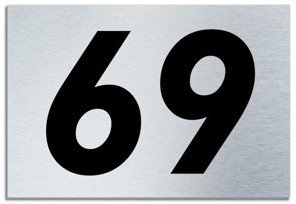 Number 69 Contemporary House Plaque Brusher Aluminium