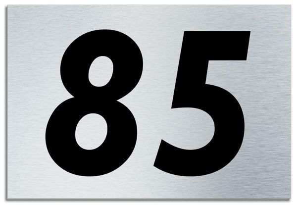 Number 85 Contemporary House Plaque Brusher Aluminium