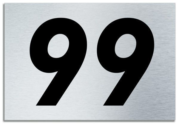 Number 99 Contemporary House Plaque Brusher Aluminium Modern Door Sign 1950 P on Small Contemporary Home Modern House