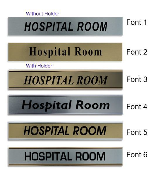 Hospital Room Door Nameplate Slide In Or Fixed Room Sign