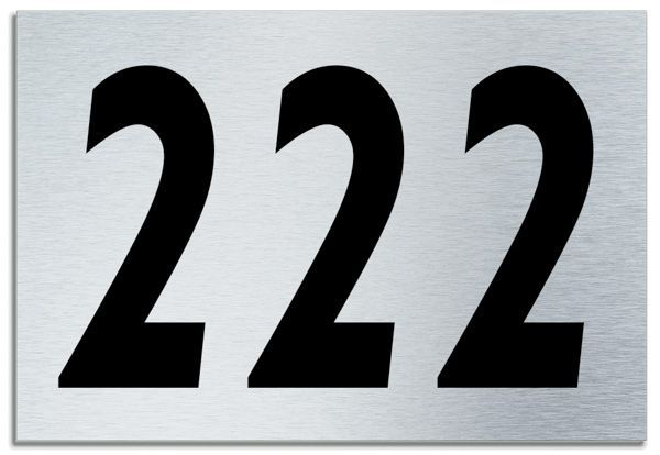 Number 222 Contemporary House Plaque Brusher Aluminium