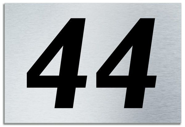 Number 44 Contemporary House Plaque Brusher Aluminium