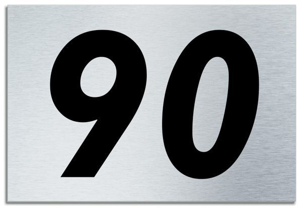 Number 90 Contemporary House Plaque Brusher Aluminium