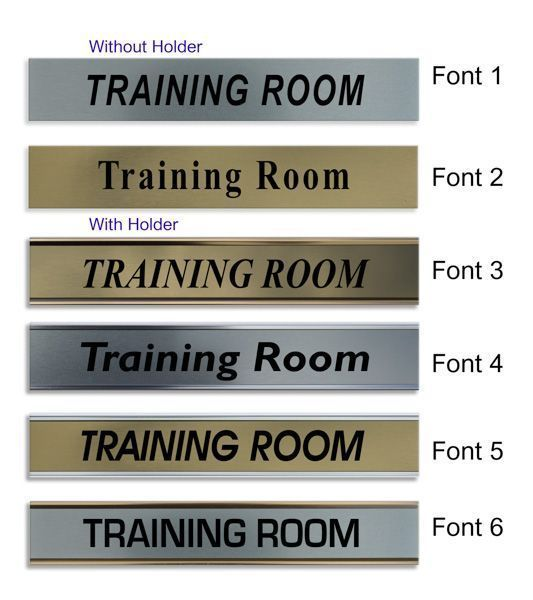 training room door nameplate slide in or fixed room sign